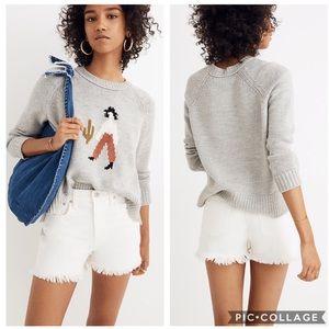 EUC Madewell Grey knit El Rancho pullover Sweater